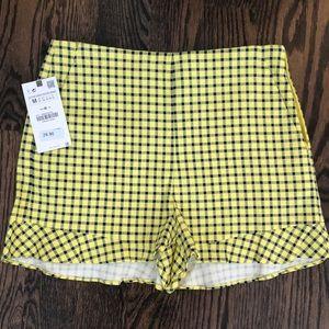 Yellow Ruffle Plaid Zara Shorts w Tags